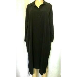 Luukaa Tunic Dress Shirt Midi Black Long Sleeve 10